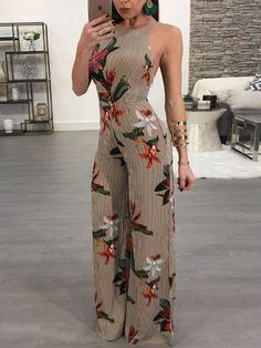 Floral Printed Halter Open Back Casual Wide Leg Jumpsuit We Miss Moda is a leading Women's Clothing Store. Backless Jumpsuit, Jumpsuit Outfit, Floral Jumpsuit, Summer Jumpsuit, Sequin Jumpsuit, Short Jumpsuit, White Jumpsuit, Pant Jumpsuit, Trend Fashion