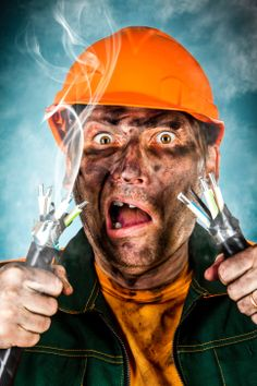 Photo about Electric shock sees a shocked electrician man. Image of burnt, hair, cable - 24244050 Electrical Outlet Covers, Electrical Outlets, Commercial Electrician, Electrical Maintenance, Residential Electrical, Electrical Problems, Robert D, Electrical Installation, Electric Shock
