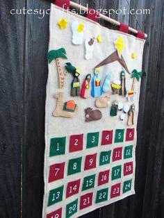 Felt Nativity Advent Calendar - Add one piece every day until Christmas.  Free pattern!