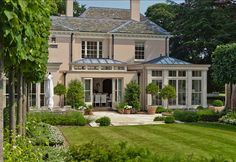 Love this back view of house with orangery. Would be better with a veranda upstairs that runs across,