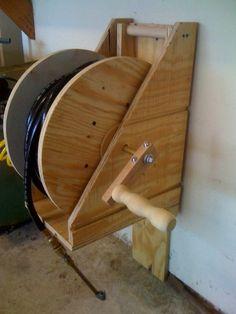 Repurposed Wire Spool Furniture Ideas - diy wire spool Air hose reel
