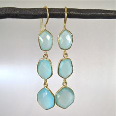 MIGHT DO... http://www.tangerinejewelryshop.com/collections/earrings/products/geometric-sea-foam-chalcedony-gold-earrings