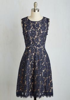 Elegant Presence Dress - Blue, Pink, Solid, Lace, Special Occasion, Daytime Party, A-line, Sleeveless, Woven, Better, Mid-length, Lace