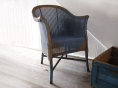 Lloyd Loom Chair ,1930s Lloyd Loom, W. Lusty & Sons, in gorgeous blue and gold. Stunning.