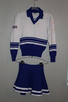 Vintage Cheerleader Dexen s Outfit Sweater Skirt Made in USA   eBay