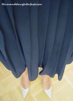Blue skirt, nude-colored Peter Kaiser shoes Mumanddaughterfashion