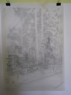 line drawing of rotterdam wijnhaven with german forrest behind it..it doesnt work that well on a picture couse the lines of both drawings fall together..size A0
