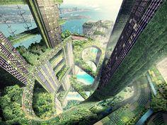 WOHA, Vertikale Städte \\ © Rendering: Obilia