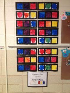 Preschool Arts And Crafts, Preschool Literacy, Classroom Crafts, Kindergarten Colors, Preschool Colors, Pre Kindergarten, Mouse Paint Activities, Children Activities, Book Activities