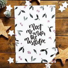Meet me under the mistletoe, Postkarte und A5 Print, Weihnachten – Truls & Trine