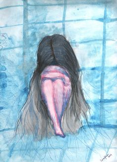 #bathroom #scared #depression #alone #blue #tiles #hair #woman