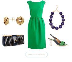Kelly Green Dress & Navy Accessories