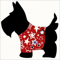 scotty dog quilt patterns free | Scottie Dog Applique Pattern for Sewing Quilting Scrapbook Template