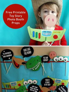 Toy Story Photo Booth Props free printable PDF is part of Toy story birthday - These free printable Toy Story photo booth props will put the Yee Haw! into your Toy Story birthday party! Buzz, Hamm, Aliens, Slinky Dog, Rex and Fête Toy Story, Toy Story Baby, Toy Story Theme, Toy Story Birthday, Boy Birthday, Toy Story Food, Birthday Ideas, Birthday Woman, Third Birthday