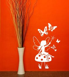 Enchanted Fairy & Butterflies Wall Sticker - Wall Art Vinyl Decal Stickers, Childrens Bedroom, Living Room, Easy to Apply, Free Applicator, Easy Peel - (PLEASE CHOOSE YOUR SIZE & COLOUR USING DROP DOWN MENU) - by Rubybloom Designs: Amazon.co.uk: Kitchen & Home