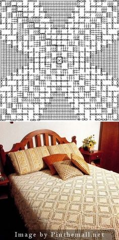 Filet crochet lace plain square for bedspread~~ roseviana.blogspot.com/2009/07/colcha-lindissimas-2.html
