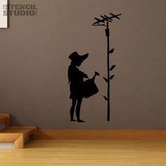 Banksy Style Sunflower Girl Stencil