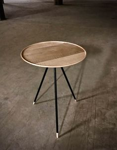 End Table, Modern Table with Turned Tiger Maple Top and Steel Legs, Modern End Table 250.