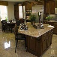 Walnut cabinets, but visualize with hardwood floors