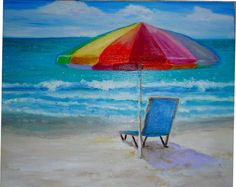 Umbrella on the beach Oil painting 8 X 10 inches by MARVINSTUDIO https://www.etsy.com/shop/MARVINSTUDIO?ref=hdr_shop_menu