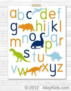 Dinosaur alphabet poster - nursery art, nursery decor  #nursery