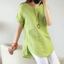 New Summer Casual Femmes Chemises Plus La Taille Femme Vêtements À Manches Courtes Lâche Coton Lin Femmes Tops Femme Blouse(China (Mainland))