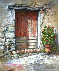 dark wooddoor in stone Watercolor Architecture, Old Doors, Painted Doors, Pictures To Paint, Oeuvre D'art, Painting & Drawing, Wall Drawing, Art Lessons, Mail Art