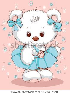Cute Teddy bear in a blue skirt. Cartoon Girl Images, Cartoon Girl Drawing, Teddy Bear Cartoon, Cute Teddy Bears, Kids Cartoon Characters, Cartoon Kids, Baby Clip Art, Baby Art, Animal Coloring Pages