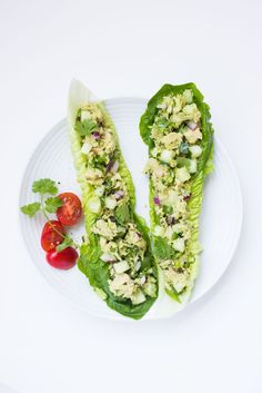 Healthy avocado tuna salad with creamy avocado, fresh herbs, cucumber, red onion, and lime juice. No mayo and paleo friendly! | littlebroken.com @littlebroken