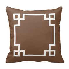 Brown and White Greek Key Pillow