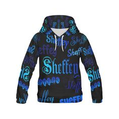 Sheffey Fonts - Shades of Blue on Black - 040 All Over Print Hoodie for Women (USA Size) (Model H13)