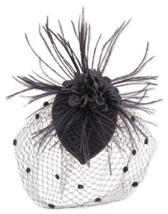 Black Feather Fabric Flower Net Fascinator Hair Clip and Cocktail Hat $25