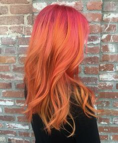 Pin by wanda michelle keeton on true colors идеи для волос, Pink And Orange Hair, Peach Hair, Yellow Hair, Orange Yellow, Flame Hair, Color Fantasia, Twisted Hair, Coloured Hair, Bright Hair