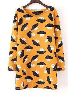 AdoreWe - Zaful Scoop Neck Mushroom Print Long Sleeve Dress - AdoreWe.com