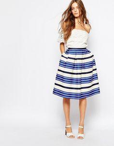 Image 1 ofPaul and Joe Sister Croisette Blue Stripe Full Midi Skirt