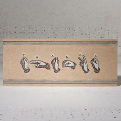 American Sign Language fingerspelling thank-you card.