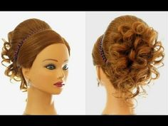 Wedding prom hairstyle for long hair. Updo hairstyles. - YouTube