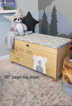 Boys Toy Box, Kids Toy Boxes, Large Toy Chest, Nursery Toys, Toy Bins, Kids Wood, Kids Room Design, Wood Toys, Baby Room Decor