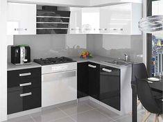 Rohová kuchyňská sestava bílo-černá Janka 01 - Krátká úchytka Kitchen Cabinets, Led, Furniture, Stan, Home Decor, Decoration Home, Room Decor, Cabinets, Home Furnishings
