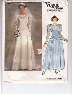 VOGUE 1519 Bridal Gown Low Waist Bodice Fit Flare Sewing Pattern Size 8 Uncut