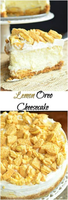 Elegant, gentle, and just heavenly cheesecake, made with Lemon Oreo Cookies, lemon filling and whipped topping. from willcookforsmiles. Köstliche Desserts, Lemon Desserts, Lemon Recipes, Sweet Recipes, Dessert Recipes, Oreo Cheesecake Recipes, Best Cheesecake, Homemade Cheesecake, Oreo Dessert