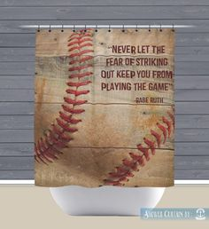 Baseball Shower Curtain: Babe Ruth Quote Sports Theme | Made in the USA | 12 Hole Fabric Bathroom Decor  by BrandiFitzgerald on Etsy https://www.etsy.com/listing/232298528/baseball-shower-curtain-babe-ruth-quote