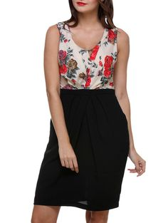 Buy Purys Black Floral Printed Sleeveless Polyester Dress Online, , LimeRoad