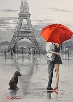 LanMent DIY Painting by Numbers Paris Square Lovers, Drawing Paint by Number Kits for Adults Beginners Kids Teens Drawing with Brushes Canvas, Umbrella Painting, Umbrella Art, Wall Art Pictures, Pictures To Paint, Kiss Pictures, Art Parisien, Paris Romance, Images D'art, Romantic Paintings