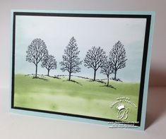 lovely as a tree stamp set, old olive and soft sky sponging #stampinup #queenbcreations