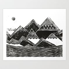 Abstract Tribal Mountains Illustration Art Print by Toni Point - $18.00