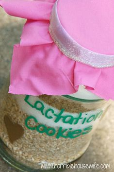 Turn an old spaghetti sauce jar into a jar of lactation cookies for your next baby shower.  #expressyourself