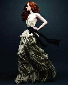 Olive gown teamed with Irish complexion.....