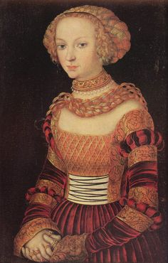 ❤ - LUCAS CRANACH - - ❤ - - Portrait of a Young Lady quite possibly in Christmas finery - Statens Museum for Kunst. Renaissance Mode, Renaissance Clothing, Renaissance Fashion, Renaissance Portraits, Renaissance Paintings, Historical Costume, Historical Clothing, Anne Of Denmark, German Costume