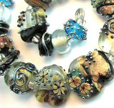 Mystic Aqua Lampwork Bead Set - Chestnut Ridge Designs/Laura Critchfield